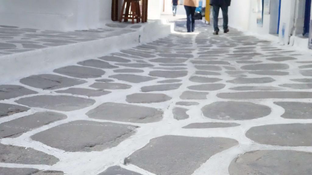 ミコノス島の地面(ギリシャ)