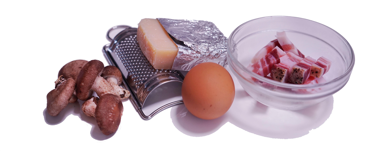 パンチェッタ・卵・チーズ・きのこ(カルボナーラの食材)